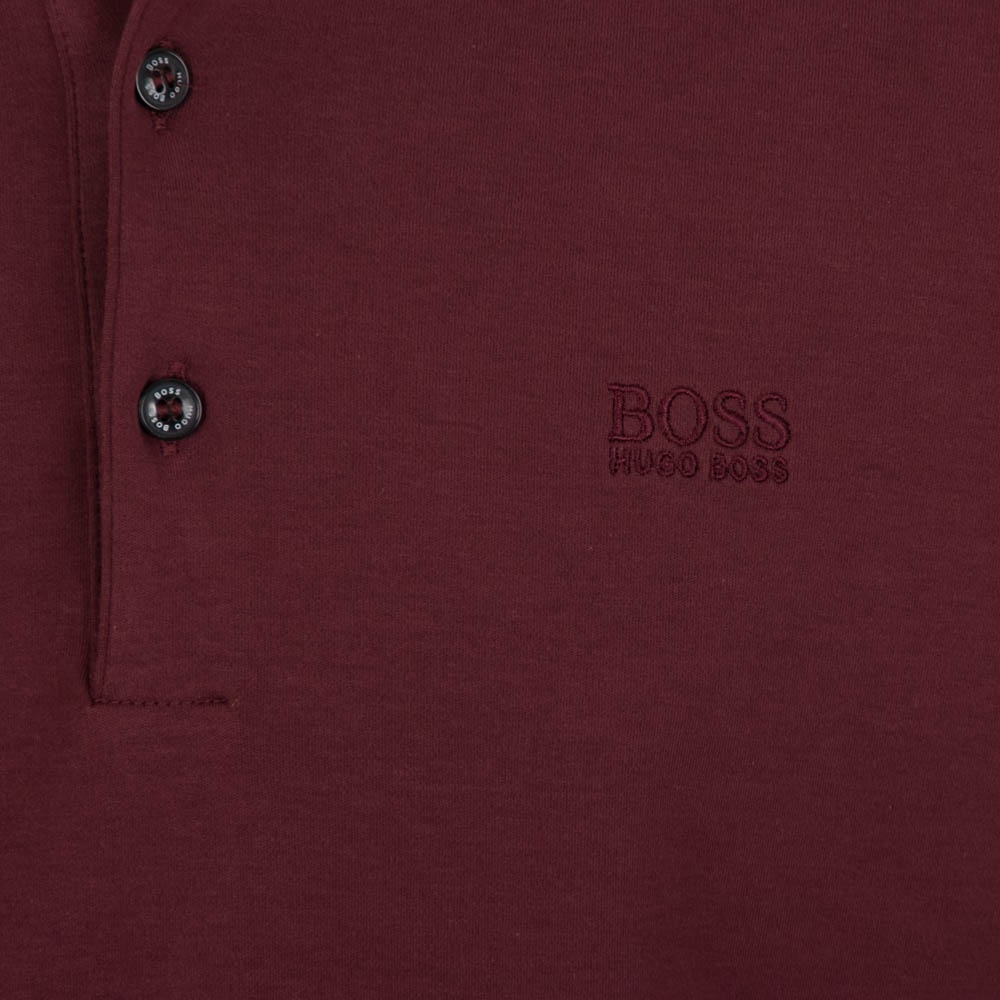 Hugo Boss Paderna 30 Long Sleeve Polo Shirt - Burgundy Red ...