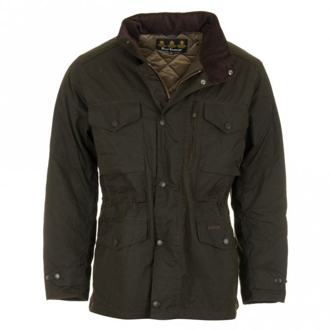 Barbour Sapper Waxed Jacket - Olive Green